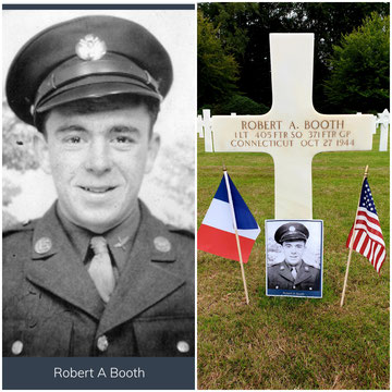 Robert A. Booth's grave marker at Epinal cemetery July 27, 2019