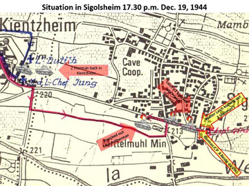 Sigolsheim Situation on Dec. 19, 1944 around 17.30 in the afternoon. Three M4 Sherman tanks of L'Aspirant Camille Girard's platoon are buring, two knocked out by Walter Laich in front of the German C.P.