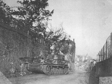 The photo shows a German Mark IV Panzer fell victim to the 15th Infantry assault in Bennwihr