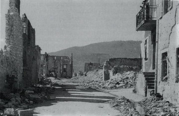 Sigolsheim Rue Sainte Jacques after the Battle 1944 (Photo courtesy R. Laeuffer via MMCPC)