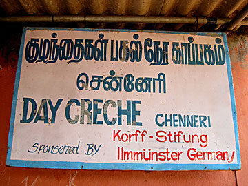 Name board for the sponsor of the pre-school