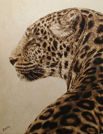 Leopard in Brandmalerei