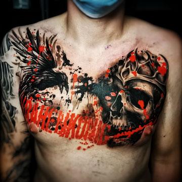 Thrash Polka Uhr Tattoo Tätowierung Josh Vangore Hamburg Farbspritzer Thrashpolka Polkasthrash Punktraster