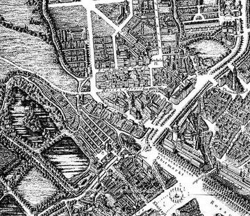 Stadtplan von 1847 (oben das heutige Kolonnadenviertel)
