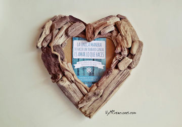 portafotos madera de mar, maderasdelmar.com, maderas del mar, marco de fotos corazón, mercazoco market