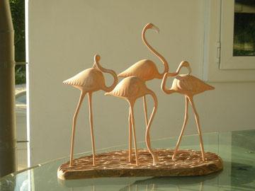 Flamingos Schnitzerei Paul Widmer Holzskulptur