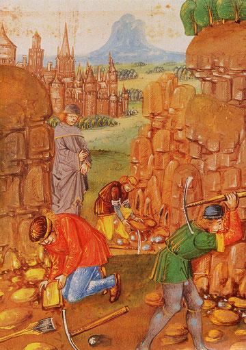 Ouvriers dans une carrière de pierre, Barthélémy l'Anglais XVe s.