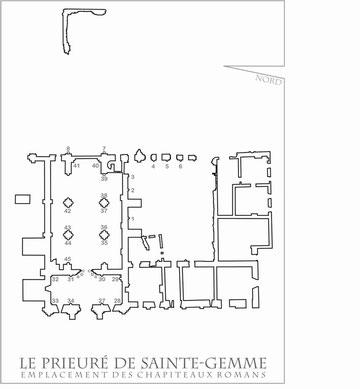 Emplacement des éléments sculptés au prieuré de Sainte-Gemme (source Mémoire de Master Nathalie Soline 2009)