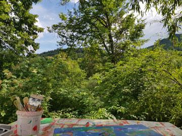 Aussicht von meinem momentanen Arbeitsplatz in Slowenien. Wenn das Wetter mitspielt.