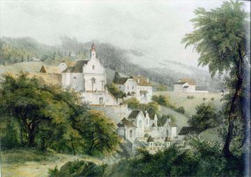 Älteste bekannte Ansicht des Kalvarienbergs (um 1830); Lithographie von Joseph Kuwasseg