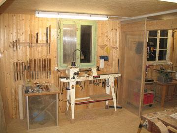 Werkstatt mit Drechselbank