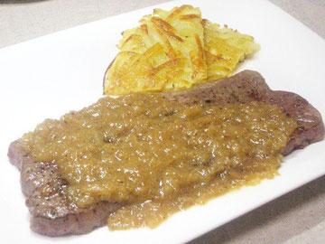 牛ミスジのステーキ マスタードソース