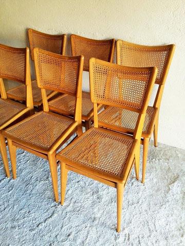 Série 6 chaises cannées en chêne vintage