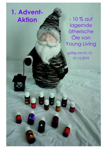 1. Advent Aktion -10 % auf lagernde ätherische Öle von Young Living (gültig von 01.12. - 07.12.2019)