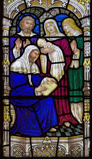 Geburt von Johannes dem Täufer, dargestellt auf einem Fenster der St. George-Kirche in Jerusalem