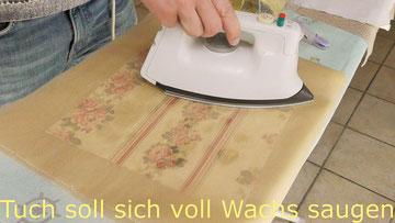 Beim Bügeln verwendet man transparentes Backpapier und beobachtet den Vorgang.