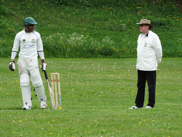 Paul Cawsey umpiring a Geneva XI Stars match earlier this season