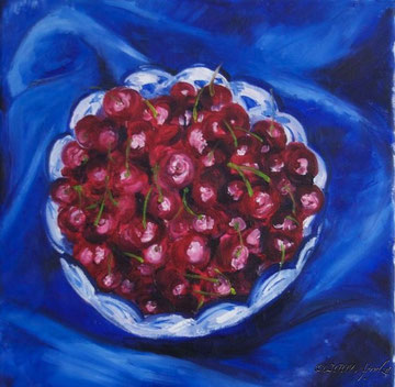 cherries in a bowl (30cm/30cm oil on canvas)