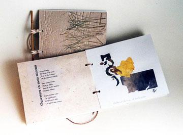 Ouverture en mots mineurs. Illustrations et collages de Tania Caggini. Poèmes de V.Gabralga. Couverture et ligature de Dominique Dallot-Gogendeau