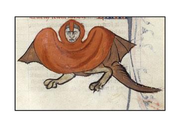 Hybride à tête humaine, avec des ailes de chauve-souris, des pattes griffues et une longue queue poilue  menaçant décorant la marge d'une Bible parisienne du XIVème siècle.