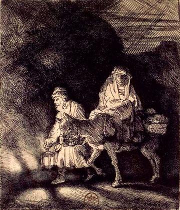 Rembrandt, La fuite en Egypte, eau-forte, burin et pointe sèche, 1651.