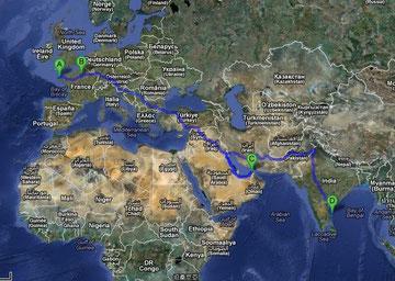 Itinéraire calculé de 14 965 km