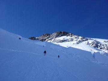 Dufourspitze, Silbersattel, Steilstufe, Gletscherspalten