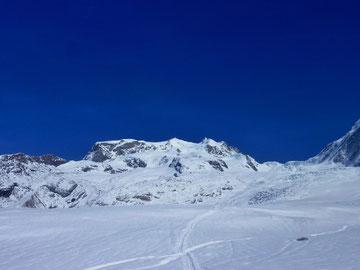 Aufstieg, Monterosa Hütte, Dufourspitze, Nordend, Skitour
