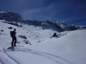 Skitour, Clariden, Überschreitung Tüfelsjoch, Teufelsjoch, Klausenpass, Urnerboden, Schweiz, Glarnerland, Abfahrt