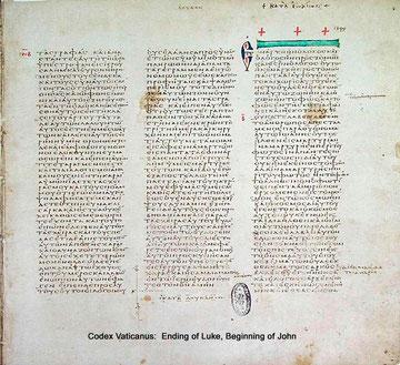 Textbeispiel angeblich 4. Jh.: Codex Vaticanus Graecus
