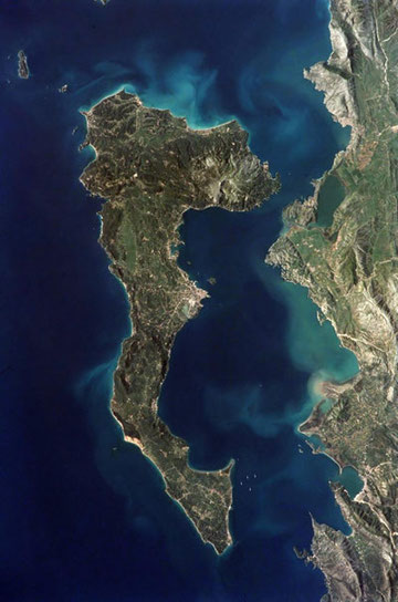 Satellite view of Corfu