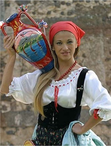 A young woman in a typical folkloristic dress