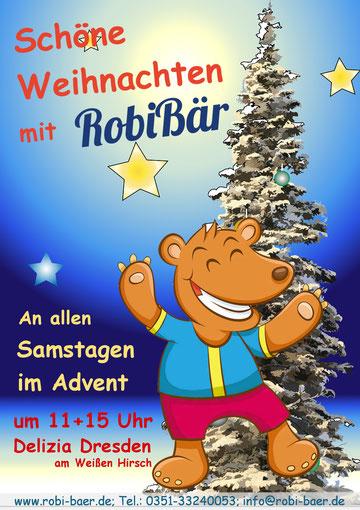 Weihnachtsprogramm, Kindertheater, Weihnachtsmärchen, Kinderweihnacht, Kindergeburtstag, Dresden, Kindertheater Dresden, Delizia Dresden, Weihnachtsmärchen Dresden, RobiBär, Robi Bär