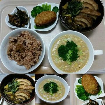 練習したので、今日の御飯はいつもになくおかずがいっぱいに。左下から車麩のすき焼き風煮物、真ん中はヒヨコマメのスープ、右は粟と南瓜のコロッケ。お腹いっぱいです。