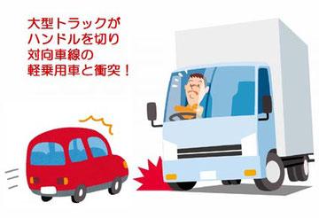 トラックの車線逸脱事故