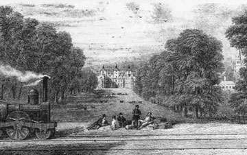 Aston Hall, after the coming of the railways, in 1851.