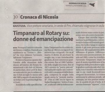 Timpanaro al Rotary su: donne ed emancipazione - Giornale di Sicilia 25.11.2010