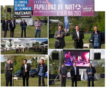 Jeudi 16 mai, inauguration du festival Papillons de Nuit 2013 aux côtés du maire de St Laurent de Cuves, Franck Esnouf, et de Patrick Hamelin l'organisateur du festival