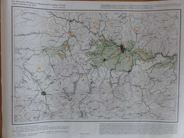 Karte des Historischen und aktuellen Weinbaues