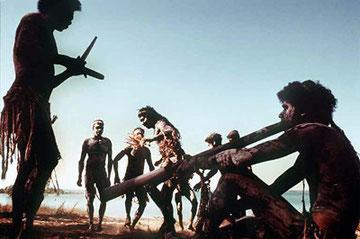 Didgeridoospiel in einer Zeremonie der Aborigines