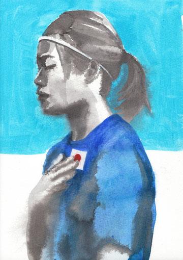 川澄選手(A4 紙/ 墨・透明水彩)