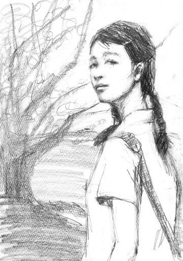 「サンザシの樹の下で」A4  鉛筆/紙
