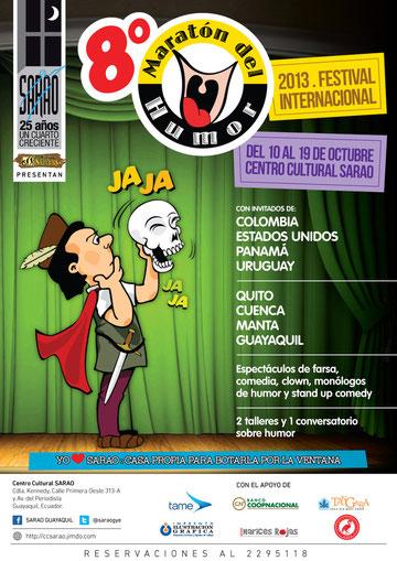 Afiche Oficial del 8vo Maratón del Humor de SARAO. Diseño de Eduardo Correa.