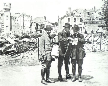 Geological Expedition to la Fere (Aisne), France, May 1920.  From left: L. Joleaud, Pere Teilhard, J. Cottereau