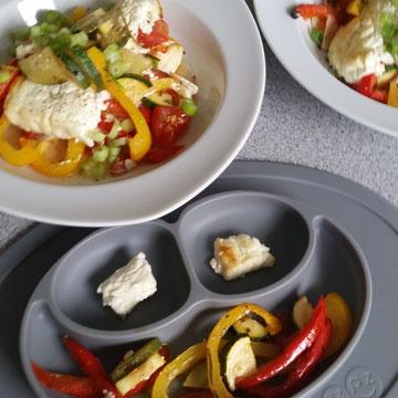 Baby-led Weaning Rezept - Ofen-Feta auf buntem Gemüse