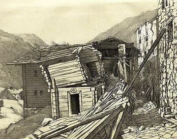 Stalden im Kanton Wallis nach dem Erdbeben von 1855.