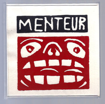 Linogravure d'Hervé Di Rosa, frontispice de Menteur ! de Joël Jacobi (Editions Luis Casinada)