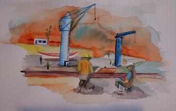 Elvira und Tom am Hafen von Puerto Cruz, Teneriffa