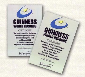 Guinness World Record certificates for Mass yodel and Mass Yo Yo