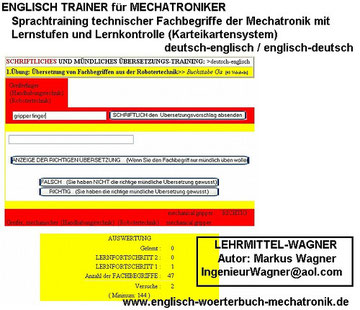 Elektroniker Vokabeln Maschinenbau english mechanical engineering-Mechatroniker-Woerterbuch-Uebersetzung-Sprachensoftware